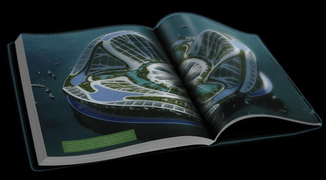 Lilypad – Monaco et Maldives – Une ville flottante et nomade – © Éditions Michel Lafon, 2015 – © Vincent Callebaut Architectures