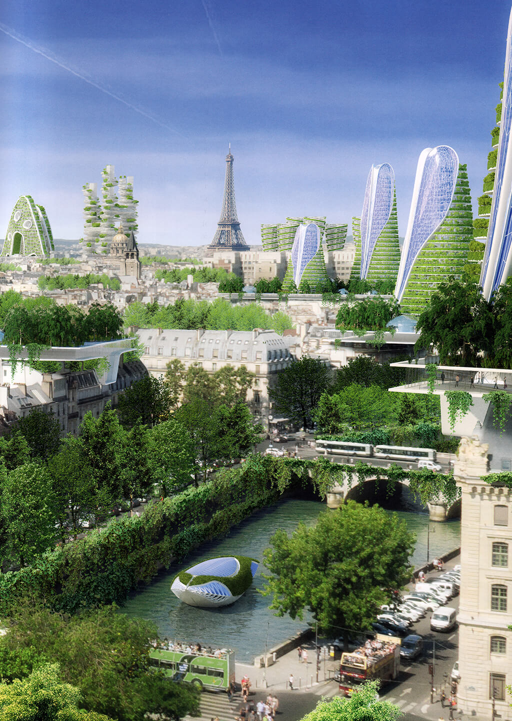 Paris Smart City – Paris – Pour une ville durable, dense et connectée – © Éditions Michel Lafon, 2015 – © Vincent Callebaut Architectures