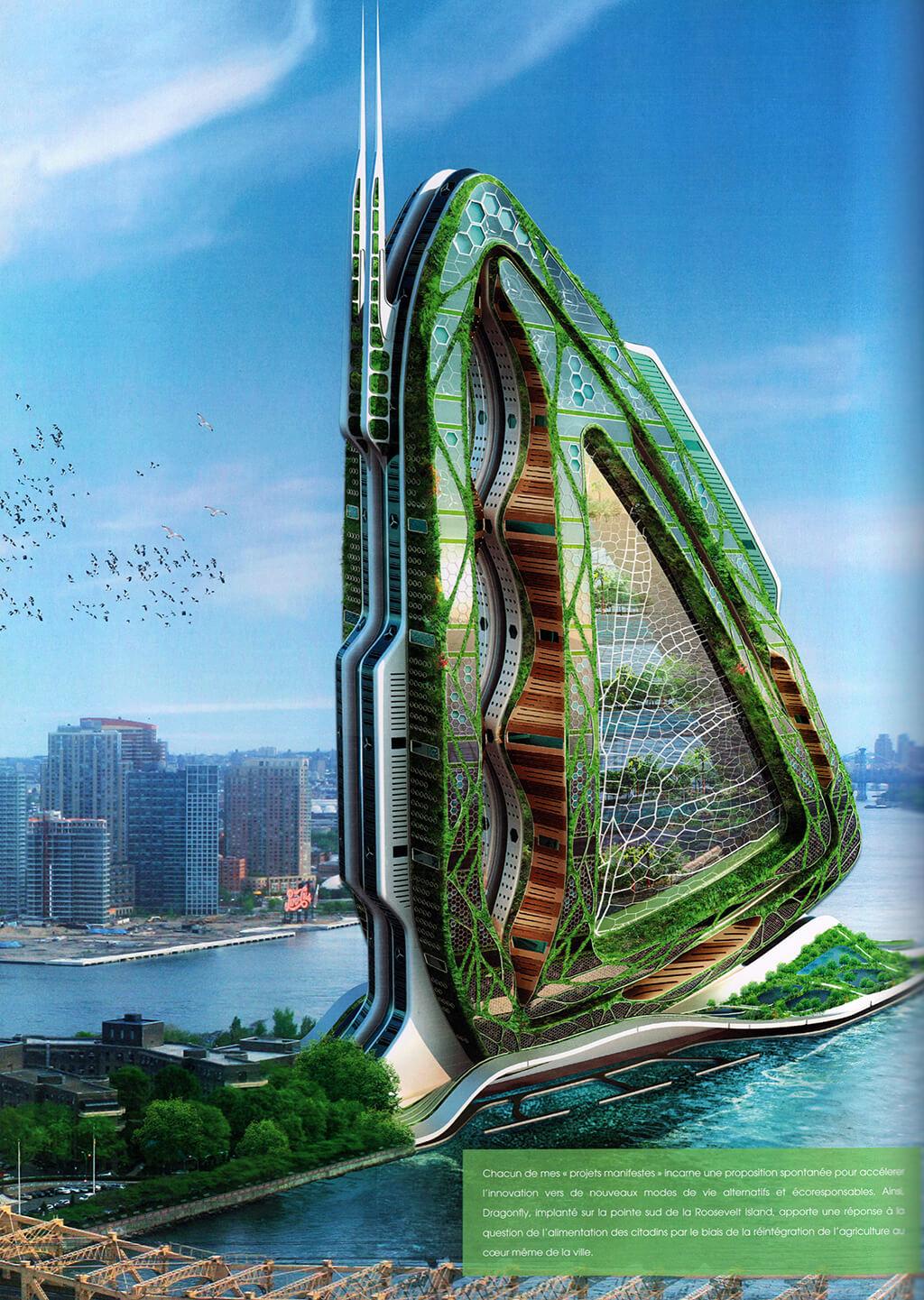 Dragonfly – New York, États-Unis d'Amérique – Des fermes verticales pour nourrir les villes – © Éditions Michel Lafon, 2015 – © Vincent Callebaut Architectures