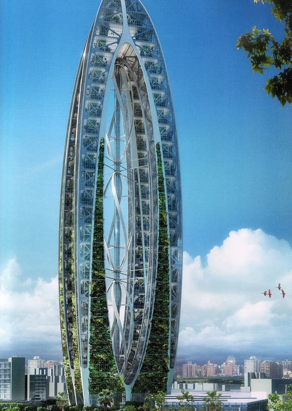 Bionic Arch – Taichung, Taïwan – Une tour agricole et civique – © Éditions Michel Lafon, 2015 – © Vincent Callebaut Architectures