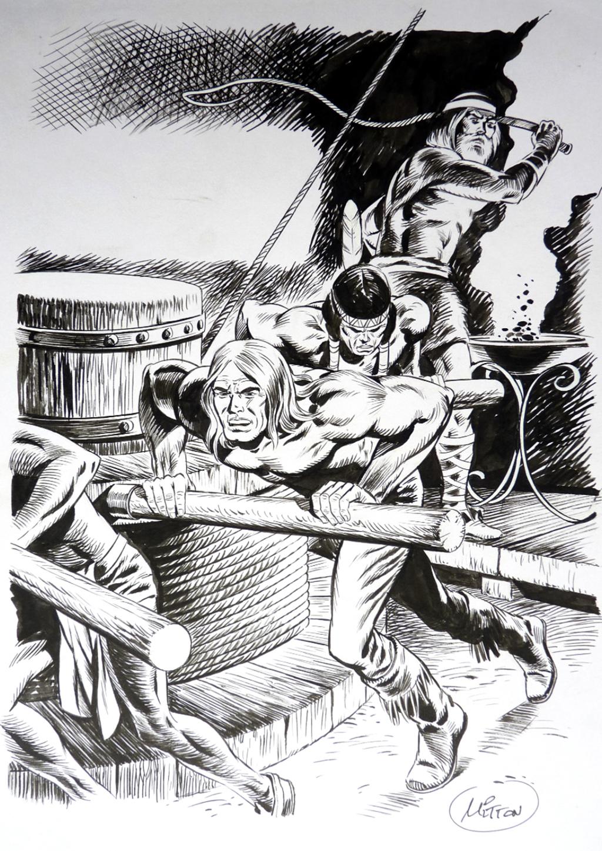 Blek le Roc – Couverture de Blek # 266 – Couverture originale Format A4 – Encre de chine – © Éditions Lug, 1974 – © Jean-Yves Mitton, 1974