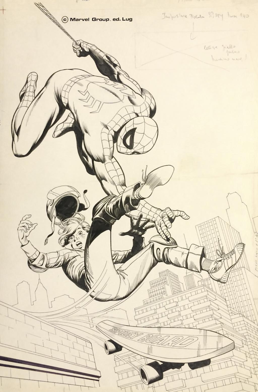 Spidey 2 – Planche originale 49 x 34 cm – Encre de chine – © Éditions Lug, 1979 – © Jean-Yves Mitton, 1979