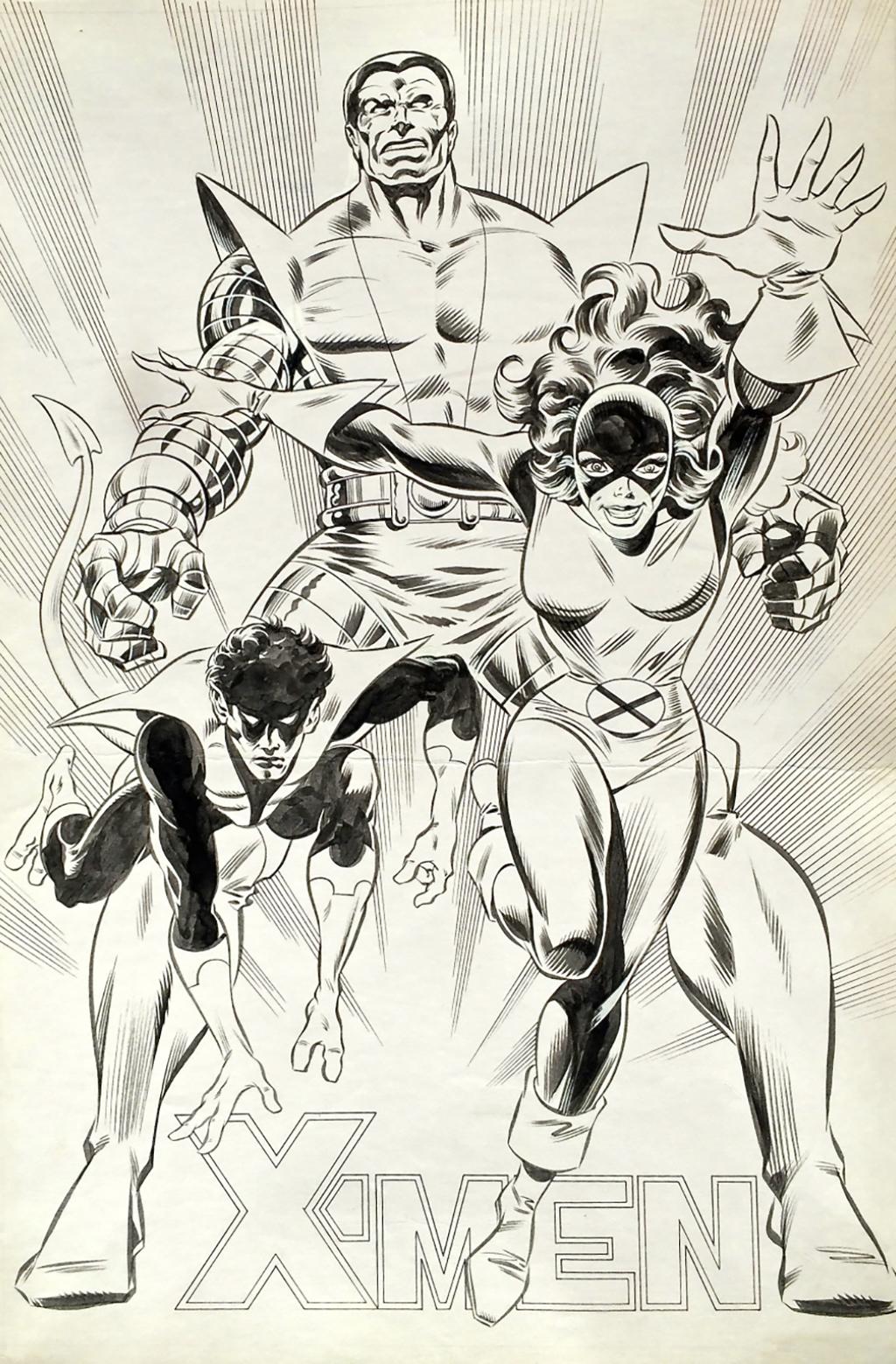 -Men – Poster de Strange # 182 – Planche originale 50 x 32.5 cm – Techniques mixtes – © Éditions Lug, 1985 – © Jean-Yves Mitton, 1985