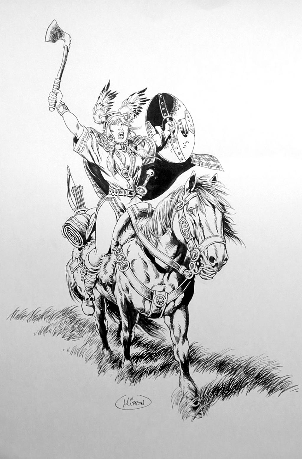 Vae Victis ! - Guerrière – Illustration – Encre de chine – © Éditions Soleil – © Jean-Yves Mitton