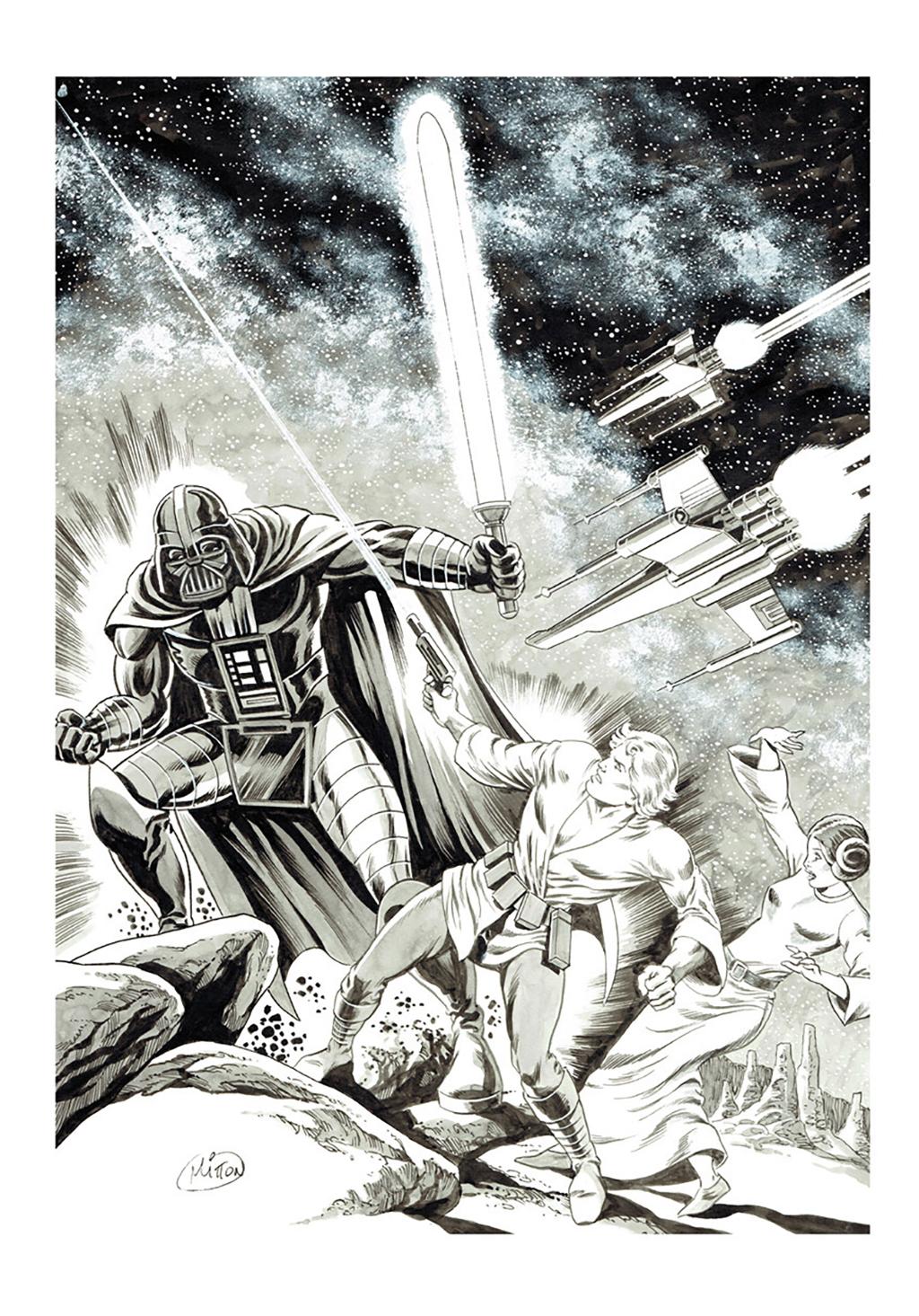 Star Wars – Ex-Libris – Inédit spécial Angoulême – Format A4, 20 exemplaires numérotés et signés – © Éditions Original Watts, 2018 – © Jean-Yves Mitton, 2018