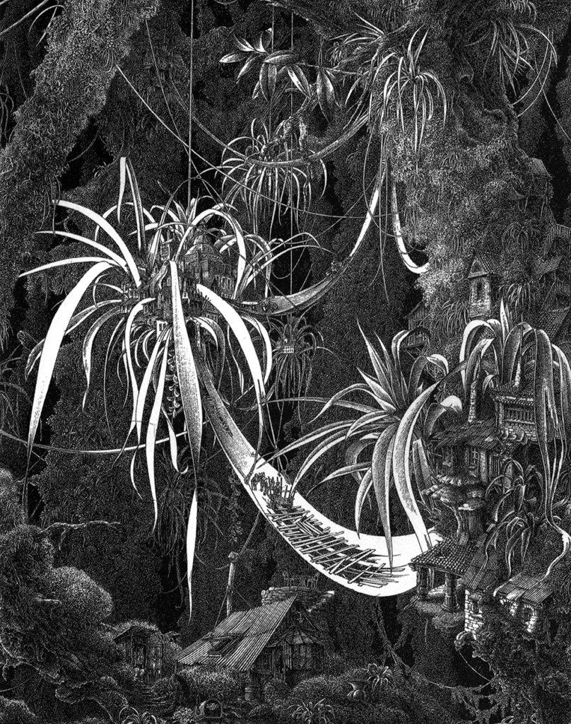 Les Villages épiphytes – Encre de Chine – © Dantec, 1990