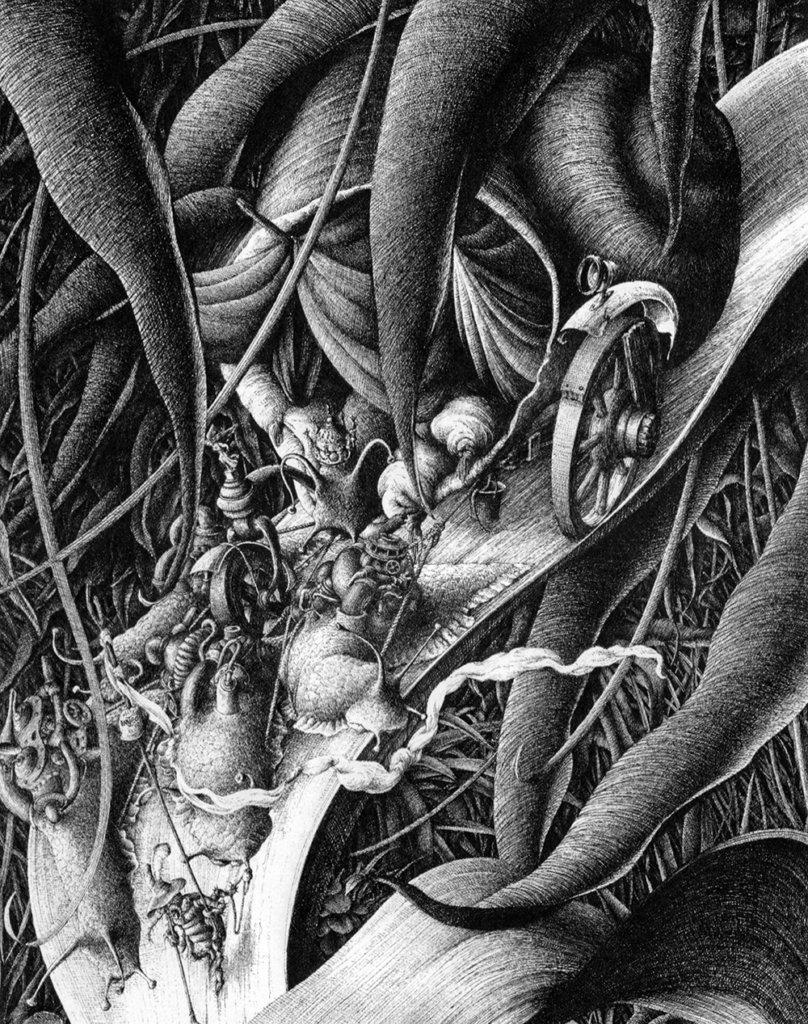Le Roi des escargots – Encre de Chine – © Dantec, 1991
