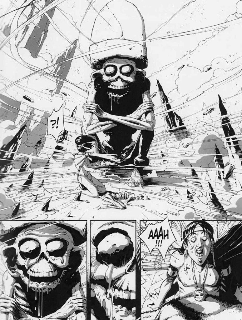 Le Serpent et la Lance — Tome1 — Ombre-Montagne — Édition noir et blanc — Scénario et Dessin: Hub — © Éditions Delcourt, 2019 — © Hub, 2019