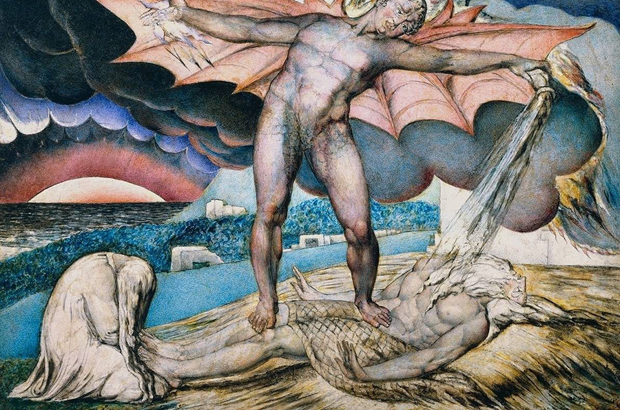 Satan torturant Job — William Blake — 1826
